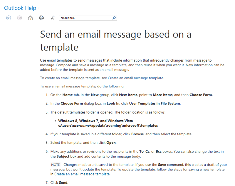 Using Outlook 2013 email template.