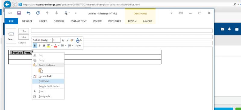 Outlook Edit Field.