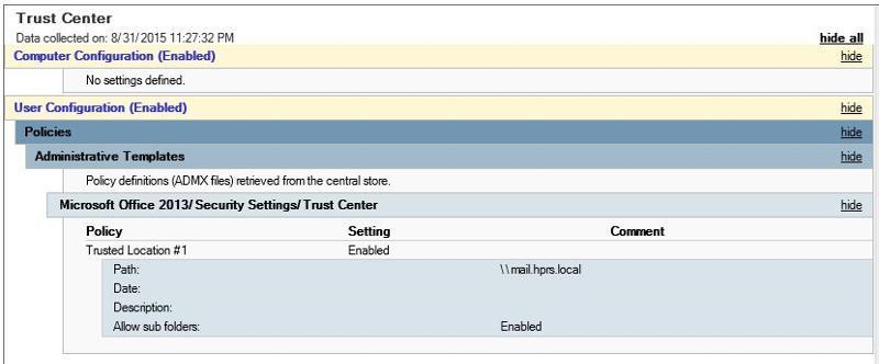 Tust Center GPO settings tab