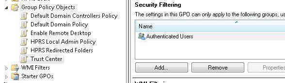 """Trust Center"" GPO Security Filtering"
