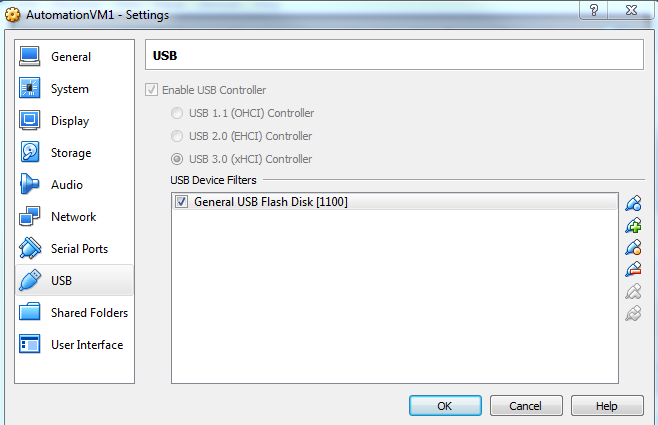 This is how the USB setup on the VM looks.
