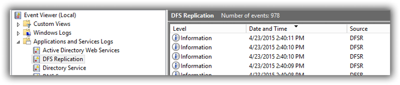 DFS Replication log