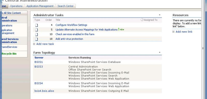 Sharepoint Central Admin Screen