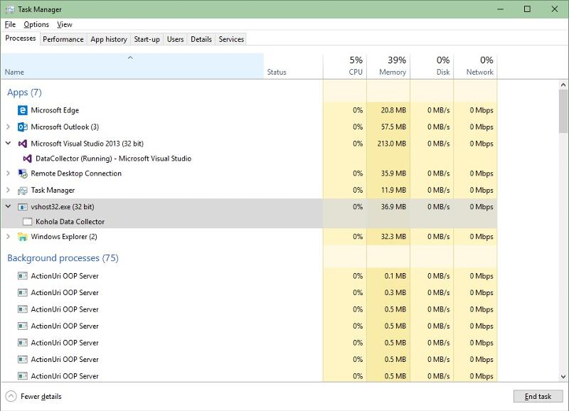 Memory usage of VS IDE and Application.
