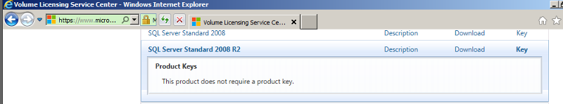 VLSC SQL Key