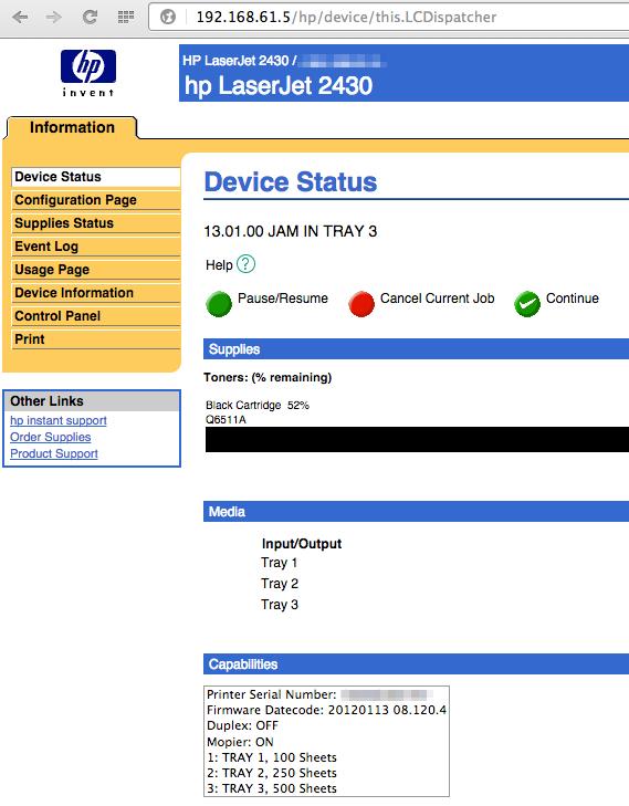 hp LaserJet 2430 Device Status