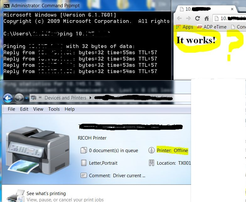 Ricoh 5501 - can ping, but can't access web interface or print