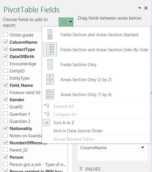 Pivot Table Field List Layout Options