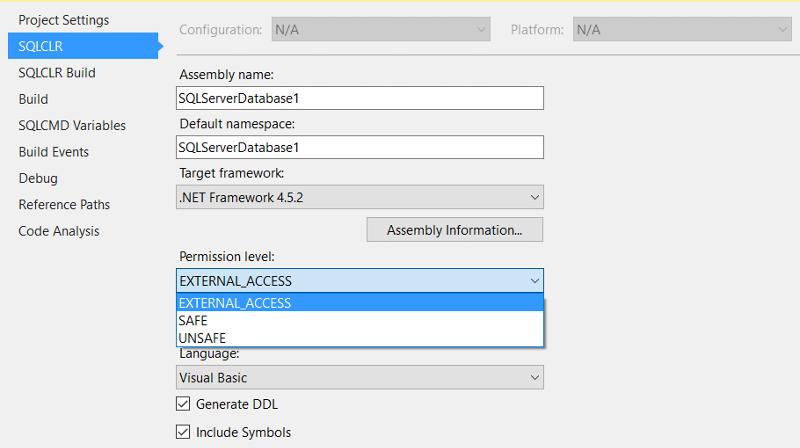 VS2015 screenshot. Setting EXTERNAL ACCESS