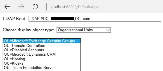 Entering my AD root and selecting Organizational Units