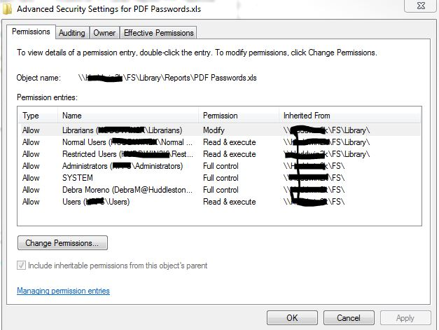 Screenshot of Permissions on file.