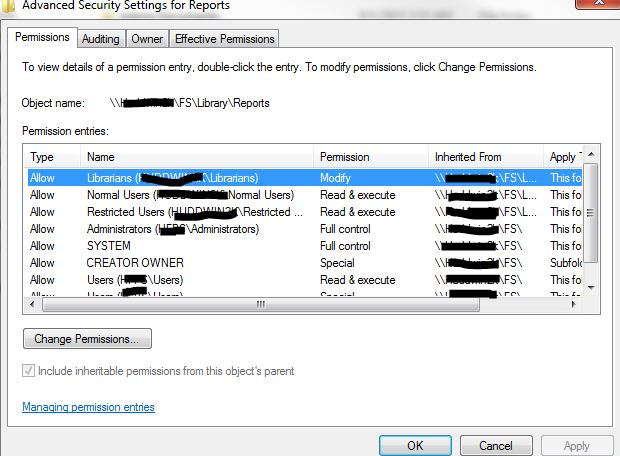 Screenshot of Permissions on folder.