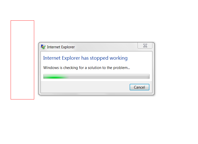 IE stops working message