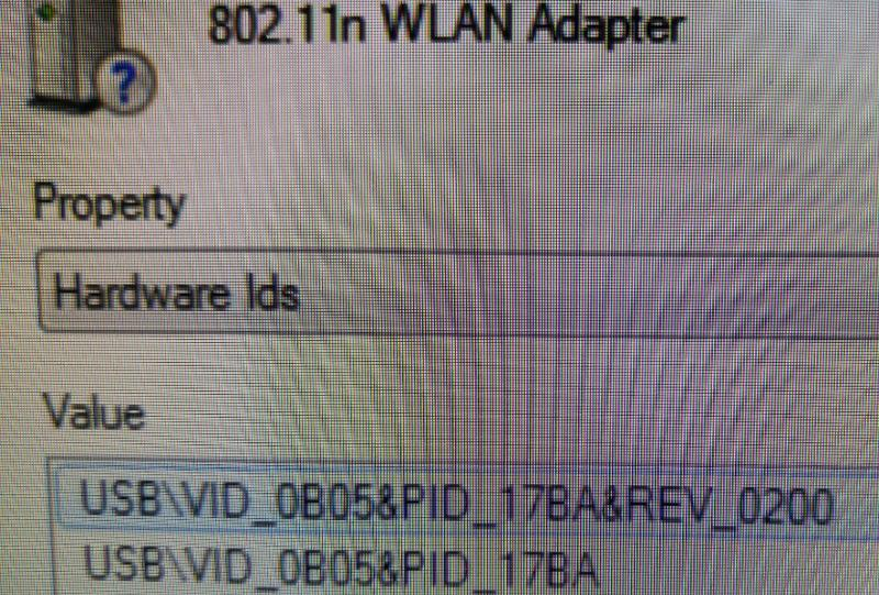 Hardware ID for the adapter from Device Manager