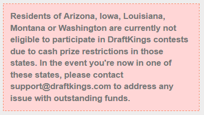 5 States that don't allow DFS gambling.