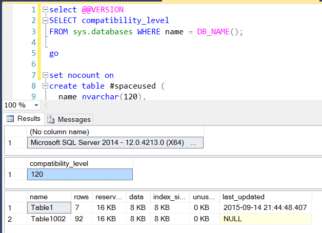 Sample output in a test database of mine.