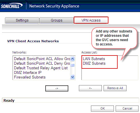 Sonicwall Global VPN no network access