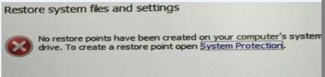 System restore result