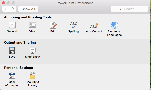 powerpoint 2016 for mac preferences