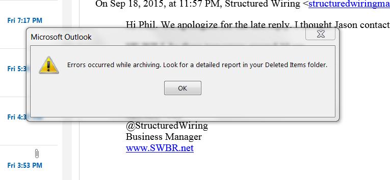 Archive Error in Outlook