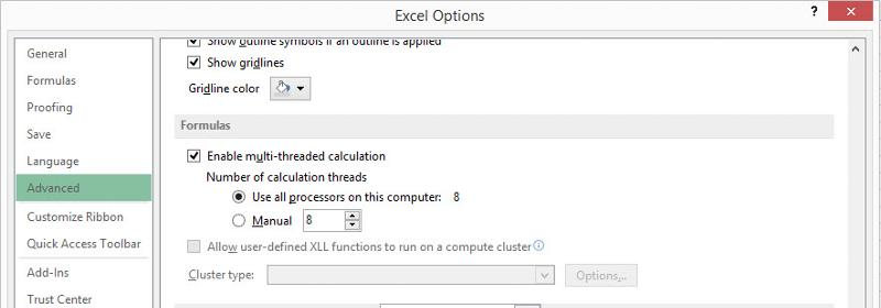 MS-Excel 2013 - Excel Options - Advanced - Formulas