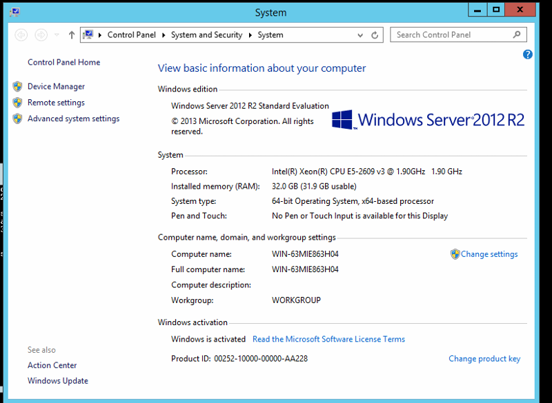 Verification that this is Windows Server 2012 R2 Standard