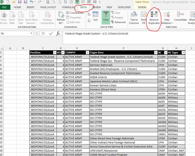 Excel toolbar Remove Duplicates