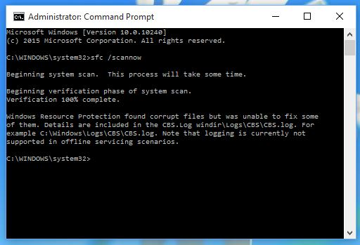 Command Prompt sfc /scannow result