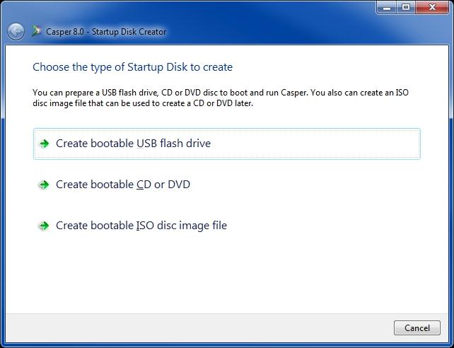 Casper bootable flash drive