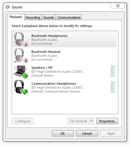 Audio Bluetooth Device Connects But Shows Disconnected in