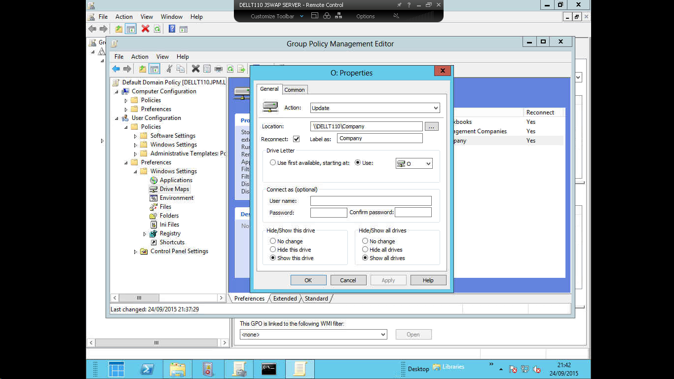 Some drives not mapping by GPO in win 7 clients with Win Server 2012