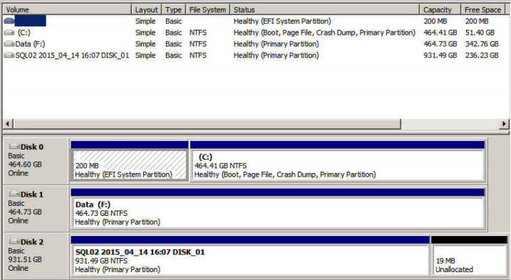 Disk manager view of the physical server