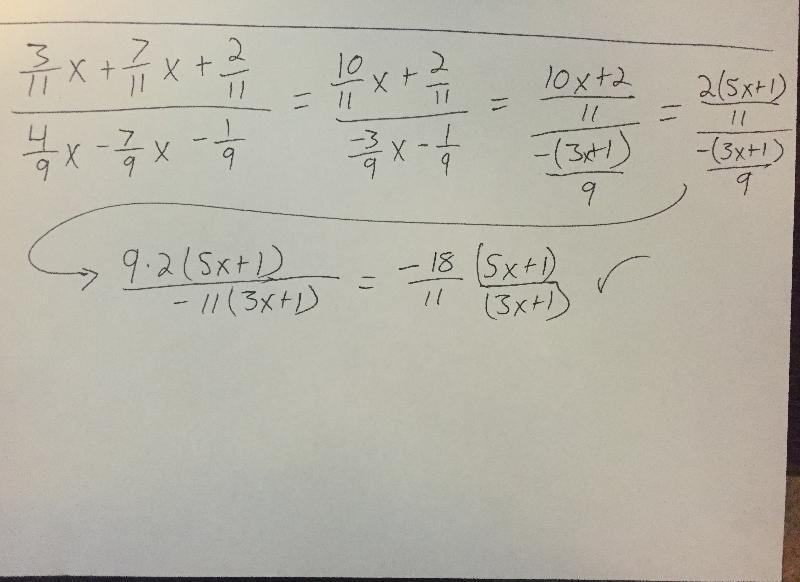 Algebra work
