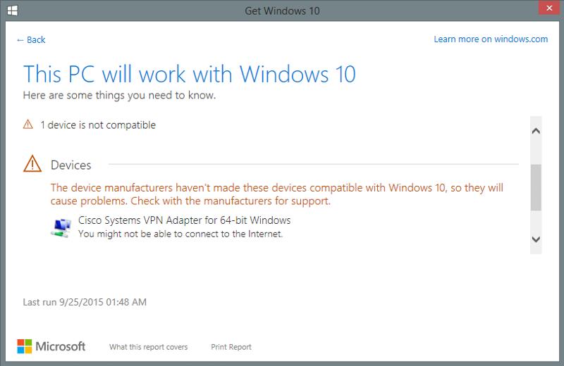 Cisco VPN, Windows 10