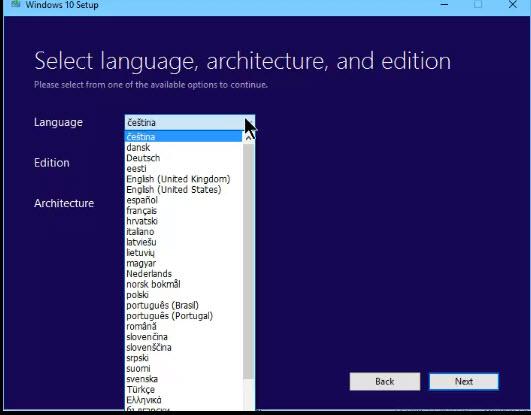 many languages available via windows media creator