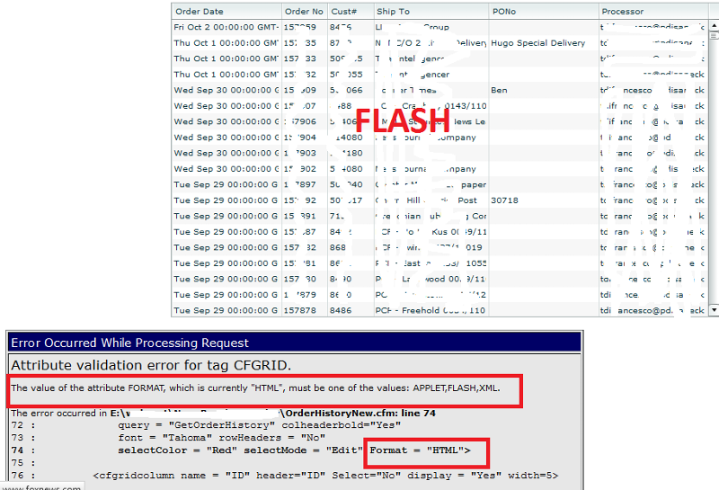 Order History in Flash and HTML