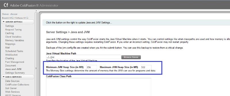 CF Admin - JVM Settings