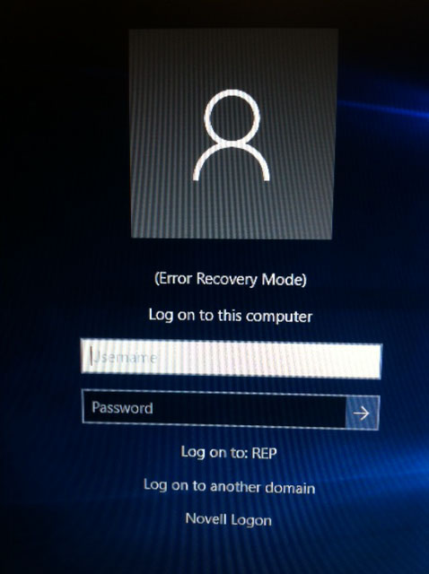 Windows 10 error recovery mode screenshot