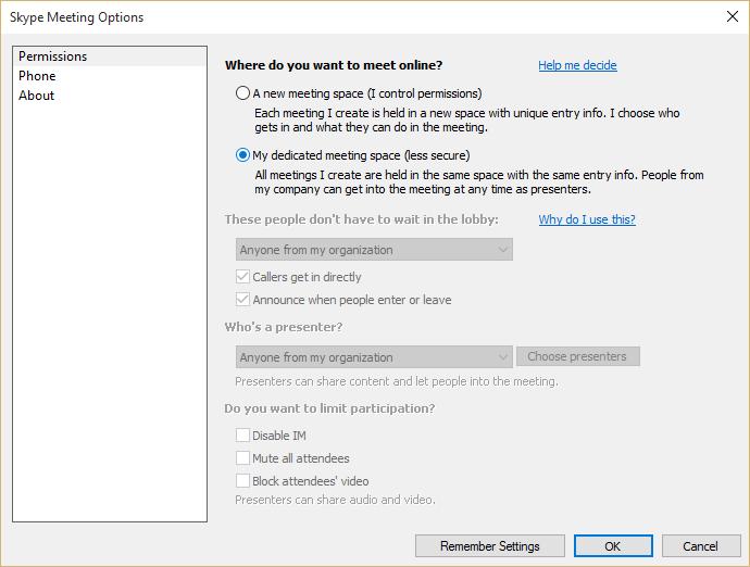 Skype Meeting Options