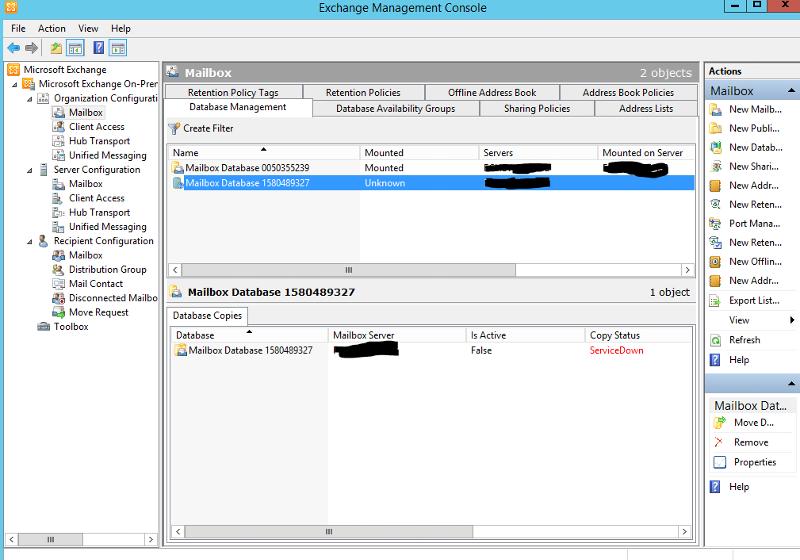 EMC in Server B showing error on Server A database.