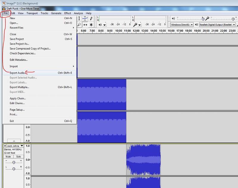 file export Audio
