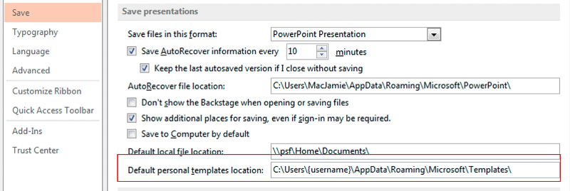 Office templates locations in relation to windows registry powerpoint 2013 options save toneelgroepblik Gallery