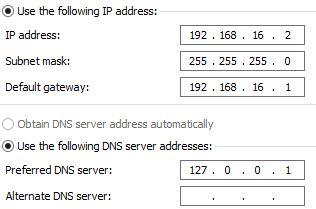 Server network setting