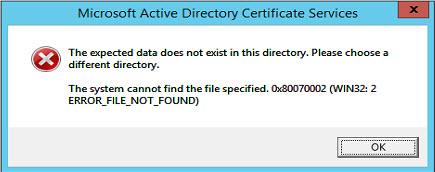 AD CA restore error