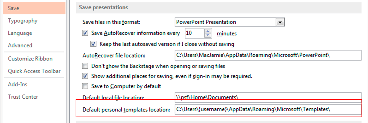 Office templates locations in relation to windows registry powerpoint 2013 options save toneelgroepblik