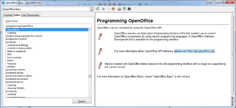 Open Office Help on Programming...