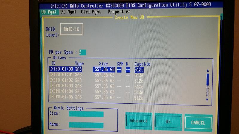 RAID 10 Setup - 0-5 HDs