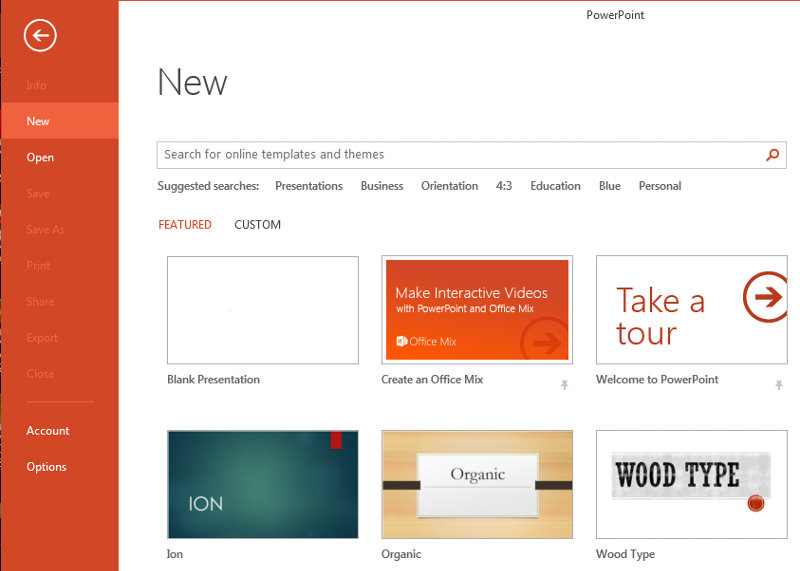 PowerPoint Backstage, New