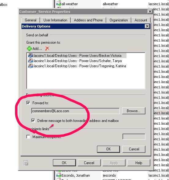 Screen shot of Exchange mailbox forward option
