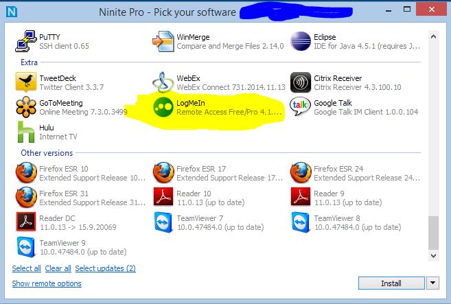 Ninite Pro - with LogMeIn displayed.
